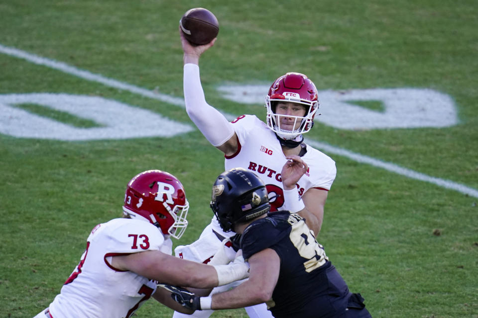 Rutgers quarterback Artur Sitkowski (8)] throws against Purdue during the first quarter of an NCAA college football game in West Lafayette, Ind., Saturday, Nov. 28, 2020. (AP Photo/Michael Conroy)