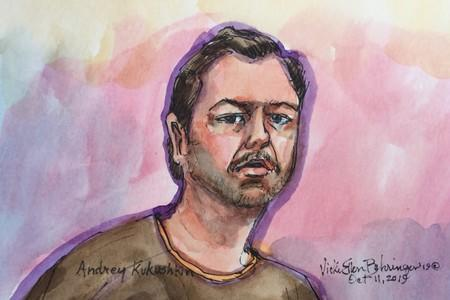 Ukrainian-born U.S. businessman Andrey Kukushkin is seen in a courtroom sketch as he appears in San Francisco Federal Court
