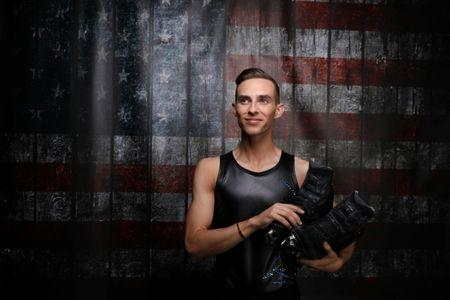 Figure skater Adam Rippon poses for a portrait at the U.S. Olympic Committee Media Summit in Park City, Utah, U.S. September 25, 2017. Rippon listens to electronic dance music while he trains. REUTERS/Lucy Nicholson