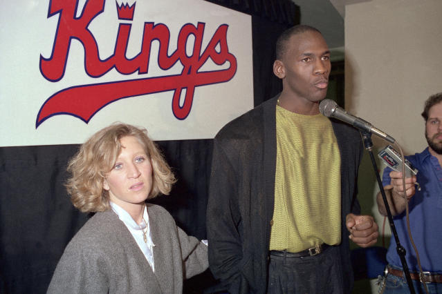 Michael Jordan talks to the media prior to a game against the Sacramento Kings on February 1, 1988 at the Arco Arena in Sacramento, California. (Photo by Rocky Widner/NBAE via Getty Images)