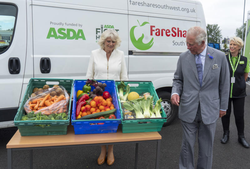 AVONMOUTH, ENGLAND - JULY 09: Prince Charles, Prince of Wales who is President of Business In The Community, and Camilla, Duchess of Cornwall visit an Asda distribution centre to thank staff who have kept the country's vital food supplies moving throughout the coronavirus pandemic on July 9, 2020 in Avonmouth, England. (Photo by Arthur Edwards - WPA Pool/Getty Images)