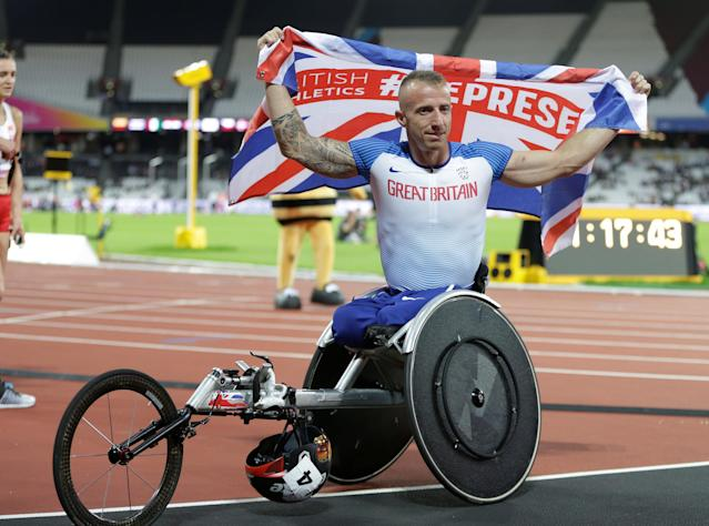 Athletics – IAAF World ParaAthletics Championships – London, Britain – July 20, 2017 Richard Chiassaro of Great Britain after winning bronze in the men's 400 metre T54 REUTERS/Henry Browne