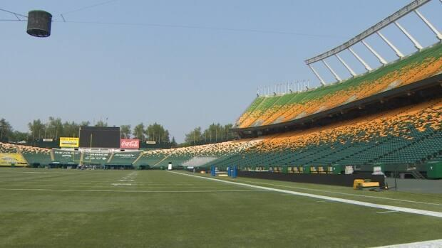 The Edmonton Elks sold about half of the full 55,000 seating capacity at Commonwealth Stadium, as of Thursday afternoon.  (Nathan Gross/CBC - image credit)