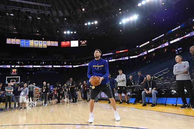 OAKLAND, CA - JUNE 4: Klay Thompson of the Golden State Warriors shoots during practice and media availability as part of the 2019 NBA Finals on June 4, 2019 at Oracle Arena in Oakland, California. (Photo by Noah Graham/NBAE via Getty Images)