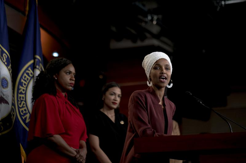Omar speaks at a press conference following Trump's racist Twitter attack on July 15, 2019. | Gabriella Demczuk for TIME