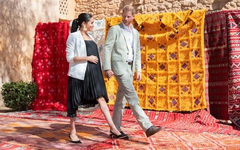 <span>The Duke and Duchess of Sussex during a visit to Rabat, late February 2019</span> <span>Credit: PA </span>