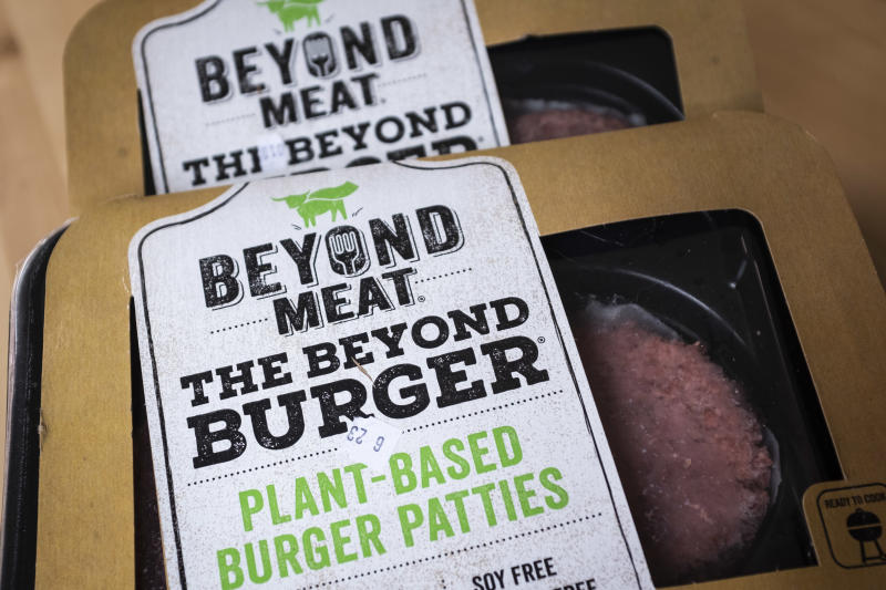 "NEW YORK, NY - JUNE 13: In this photo illustration, packages of Beyond Meat ""The Beyond Burger"" sit on a table, June 13, 2019 in the Brooklyn borough of New York City. Since going public in early May, Beyond Meat's stock has soared more than 450 percent and its market value is over $8 billion. Beyond Meat is a Los Angeles-based producer of plant-based meat substitutes, including vegan versions of burgers and sausages. (Photo by Drew Angerer/Getty Images)"