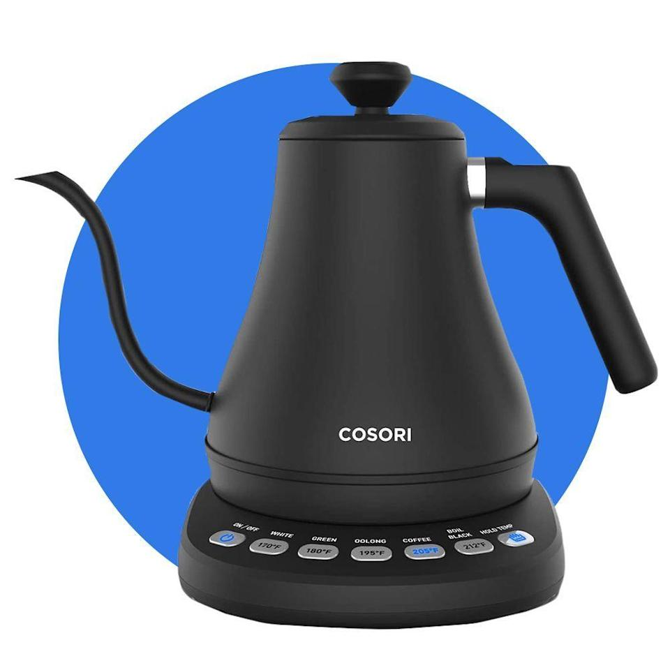 """<p><strong>COSORI</strong></p><p>amazon.com</p><p><strong>$69.99</strong></p><p><a href=""""https://www.amazon.com/dp/B07T1CH2HH?tag=syn-yahoo-20&ascsubtag=%5Bartid%7C2089.g.34449251%5Bsrc%7Cyahoo-us"""" rel=""""nofollow noopener"""" target=""""_blank"""" data-ylk=""""slk:Shop Now"""" class=""""link rapid-noclick-resp"""">Shop Now</a></p><p>This is the electric <a href=""""https://www.bestproducts.com/appliances/small/g412/electric-water-and-tea-kettles/"""" rel=""""nofollow noopener"""" target=""""_blank"""" data-ylk=""""slk:tea kettle that we most recommend"""" class=""""link rapid-noclick-resp"""">tea kettle that we most recommend</a> for daily tea drinkers who value convenience and precision (along with good looks) above all else in their kettle. Its sleek gooseneck spout provides a more precise pour of water for both tea leaves and coffee grounds. </p><p>The kettle is powered by five preset temperature settings, so if you like drinking different types of tea, this model makes it easy to choose the best temperature for each kind. Just fill the .8-liter kettle with water, turn it on, and select one of the preset temperature buttons. </p><p>The kettle will beep three times when it's ready, and if you've hit the """"hold temp"""" button, it'll stay right at that temperature for up to an hour before shutting off automatically.</p>"""