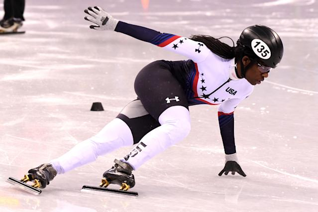 Maame Biney of the United States competes during the Ladies' 500m Short Track Speed Skating quarterfinal on day four of the PyeongChang 2018 Winter Olympic Games at Gangneung Ice Arena on February 13, 2018 in Gangneung, South Korea. (Photo by Harry How/Getty Images)