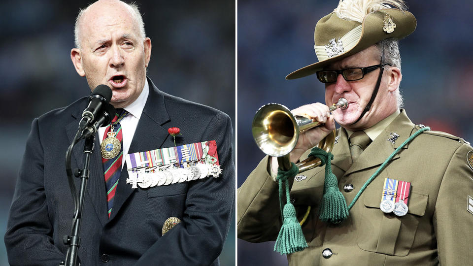 Sir Peter Cosgrove and Corporal John Byrne, pictured here at State of Origin.