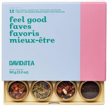 """<h2><a href=""""https://www.davidstea.com/us_en/tea/feel-good-faves-12-tea-sampler/961580US01VAR0071836.html"""" rel=""""nofollow noopener"""" target=""""_blank"""" data-ylk=""""slk:DavidsTea Feel Good Faves 12 Tea Sampler"""" class=""""link rapid-noclick-resp"""">DavidsTea Feel Good Faves 12 Tea Sampler<br></a></h2><br>For the woman that loves tea and could use a little pick-me-up right now (couldn't we all?), consider this colorful selection of loose leaf teas and infusions designed to help her relax, digest, energize, detox and beautify.<br><br><strong>DavidsTea</strong> Feel Good Faves 12 Tea Sampler, $, available at <a href=""""https://go.skimresources.com/?id=30283X879131&url=https%3A%2F%2Fwww.davidstea.com%2Fus_en%2Fgifts%2Fcollections%2Fbestsellers%2Ffeel-good-faves-12-tea-sampler%2F961580US01VAR0071836.html"""" rel=""""nofollow noopener"""" target=""""_blank"""" data-ylk=""""slk:DavidsTea"""" class=""""link rapid-noclick-resp"""">DavidsTea</a>"""