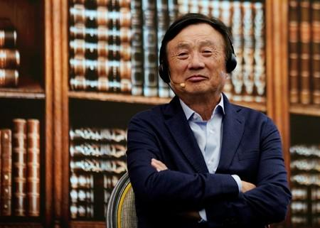 Huawei founder Ren Zhengfei attends a panel discussion at the company headquarters in Shenzhen