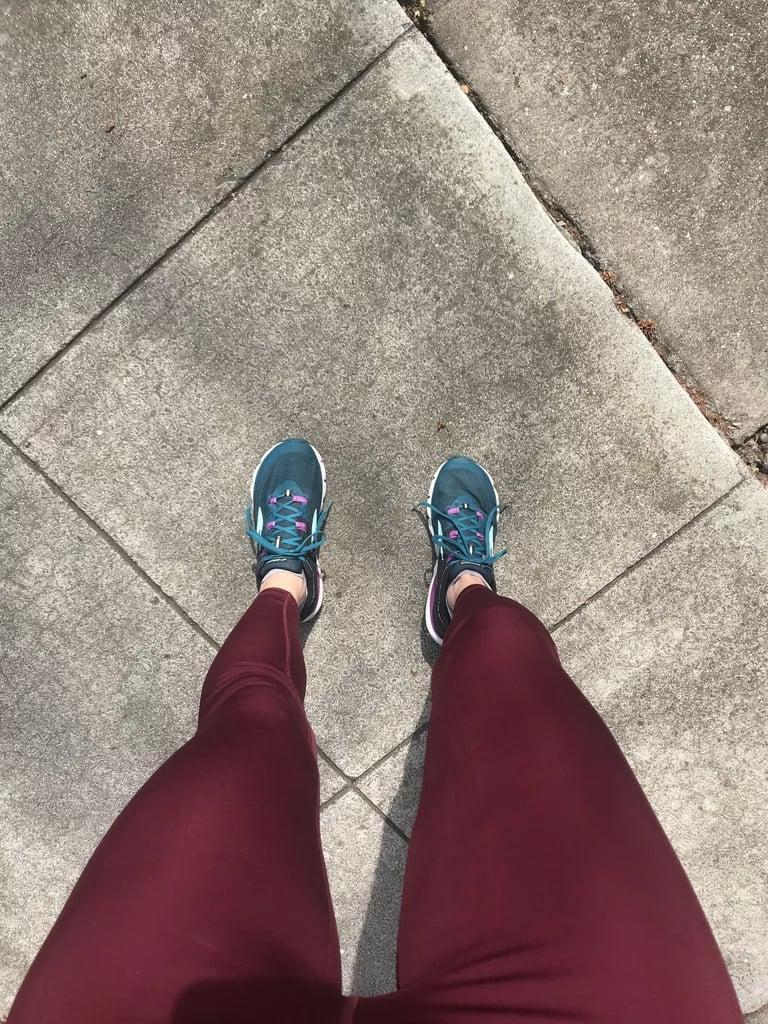 """<p><strong>The item:</strong> <span>Old Navy High-Waisted Run Leggings</span> (Sold Out)</p> <p><strong>What our editor said:</strong> """"The second I put these on I knew they were meant for running. They were much firmer than the other tights I tested, but I still had full range. The waistband was considerably higher than my other running tights, and I think that's what helped them stay in place. I loved the slight sheen to them, and there are breathable mesh panels on the backside of the knee that made moving easier."""" - RB </p><p>If you want to read more, here is the <a href=""""https://www.popsugar.com/fitness/old-navy-workout-tights-review-47257675#photo-47265376"""" class=""""link rapid-noclick-resp"""" rel=""""nofollow noopener"""" target=""""_blank"""" data-ylk=""""slk:complete review"""">complete review</a>.</p>"""