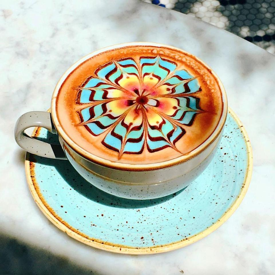 """<p>If you're after a caffeine buzz in a chic <a rel=""""nofollow"""" href=""""https://www.bestproducts.com/fun-things-to-do/a1171/what-to-do-in-los-angeles/"""">Los Angeles</a> space, complete with a glam outdoor patio, look no further than <a rel=""""nofollow"""" href=""""https://www.tripadvisor.com/Restaurant_Review-g33252-d12069774-Reviews-The_Butcher_The_Baker_The_Cappuccino_Maker-West_Hollywood_California.html"""">The Butcher, The Baker, & The Cappuccino Maker</a> (gotta love that name!) in West Hollywood. Blow up the 'gram with the <em>almost</em>-too-gorgeous-to-ruin multicolored latte art.</p><p><strong>More:</strong> <a rel=""""nofollow"""" href=""""https://www.bestproducts.com/appliances/small/a13948731/reviews-best-coffee-makers-machines/"""">Like to Brew at Home? Here Are the Best Coffee Makers on the Market</a></p>"""