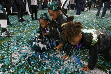 Feb 4, 2018; Minneapolis, MN, USA; Philadelphia Eagles cornerback Patrick Robinson (not pictured) kids play in confetti after defeating the New England Patriots to win Super Bowl LII at U.S. Bank Stadium. Mandatory Credit: Kirt Dozier-USA TODAY Sports