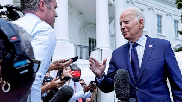 PHOTO: President Joe Biden talks to the media as he departs for a weekend visit to Camp David from the White House in Washington, D.C., July 16, 2021. (Jonathan Ernst/Reuters)