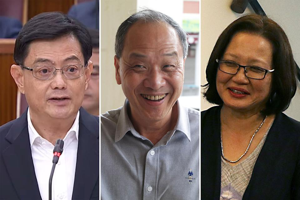 (L-R) Deputy Prime Minister Heng Swee Keat, former Workers' Party chief Low Thia Khiang and WP chairperson Sylvia Lim (PHOTOS: YouTube screengrab/Yahoo News Singapore)