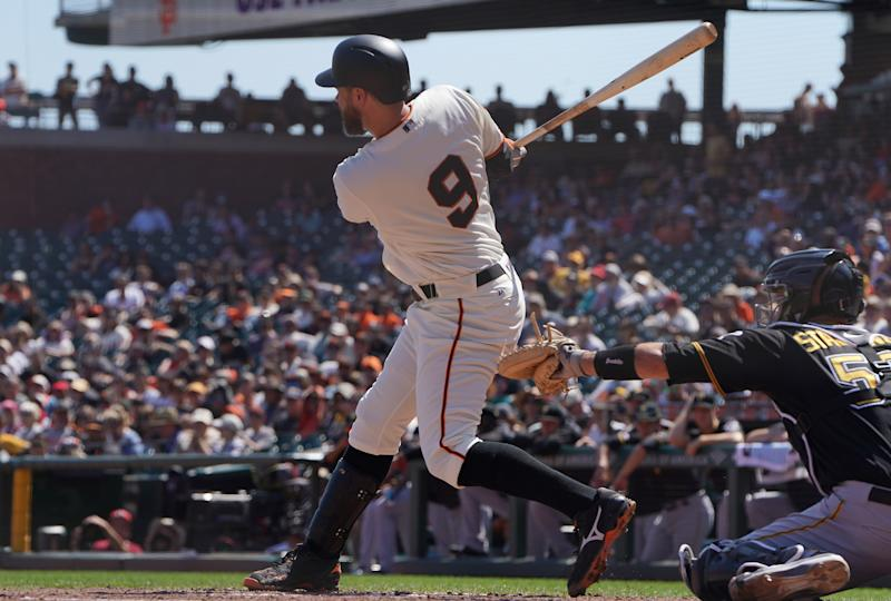 SAN FRANCISCO, CALIFORNIA - SEPTEMBER 12: Brandon Belt #9 of the San Francisco Giants bats against the Pittsburgh Pirates in the bottom of the third inning at Oracle Park on September 12, 2019 in San Francisco, California. (Photo by Thearon W. Henderson/Getty Images)