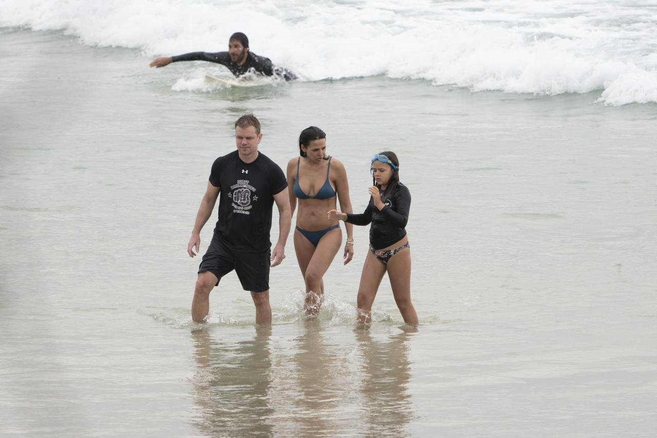 <p>Matt, his wife Luciana Barroso, and three daughters, Isabella, 12, Gia, 10, and Stella, eight, are enjoying the summer weather on the NSW north coast. Photo: Diimex </p>