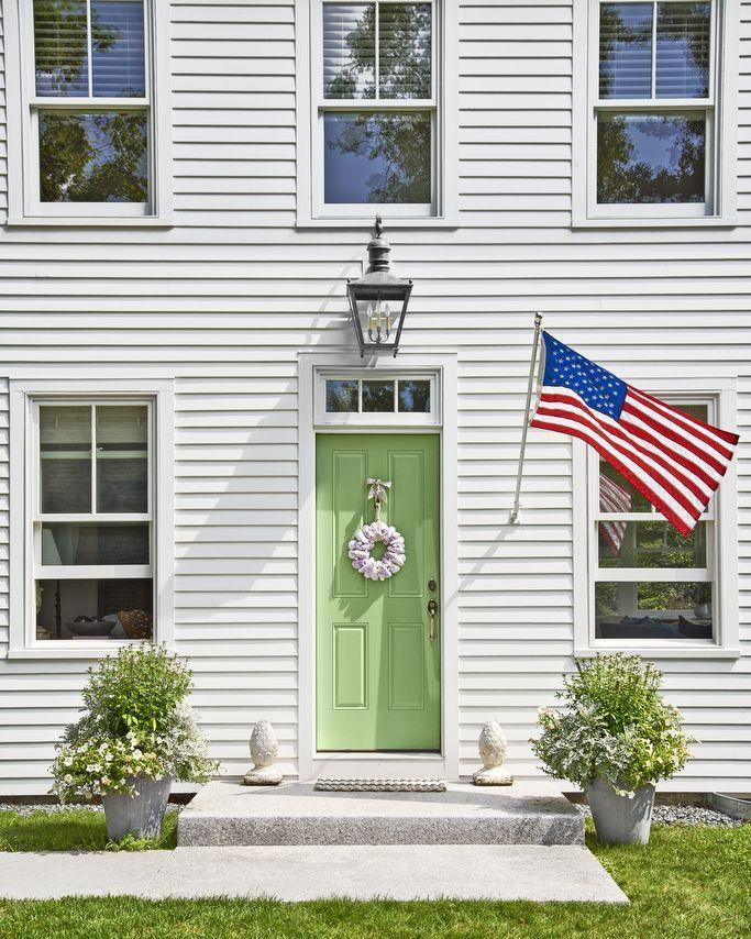 """<p>Keep your home looking vibrant all year long with a jovial shade of green.</p><p><a class=""""link rapid-noclick-resp"""" href=""""https://www.sherwin-williams.com/homeowners/color/find-and-explore-colors/paint-colors-by-family/SW6729-lacewing"""" rel=""""nofollow noopener"""" target=""""_blank"""" data-ylk=""""slk:SHOP GREEN PAINT"""">SHOP GREEN PAINT</a></p>"""