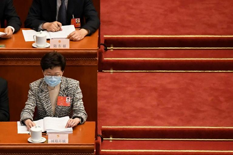 Hong Kong Chief Executive Carrie Lam at the opening session of the National People's Congress in Beijing