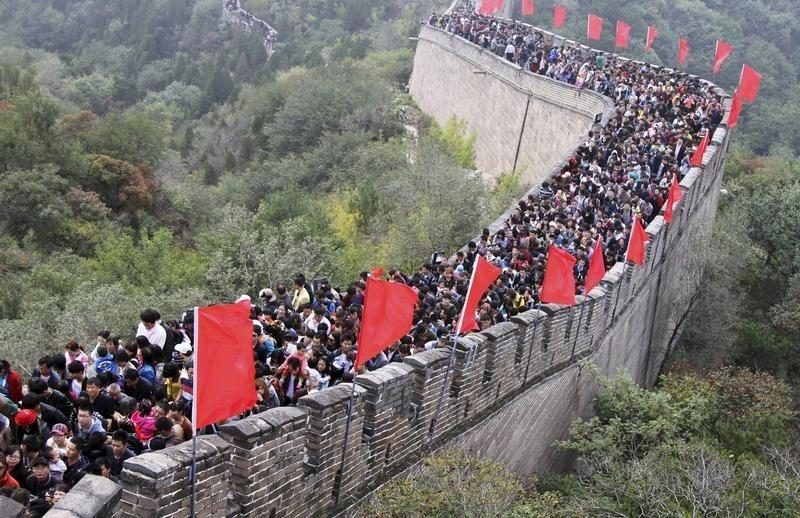 Tourists visit the Great Wall on the third day of the seven-day national day holiday, on the outskirts of Beijing
