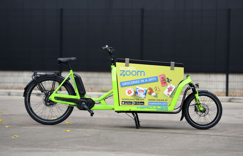 An Ocado Zoom pedal-powered delivery vehicle in Acton, London