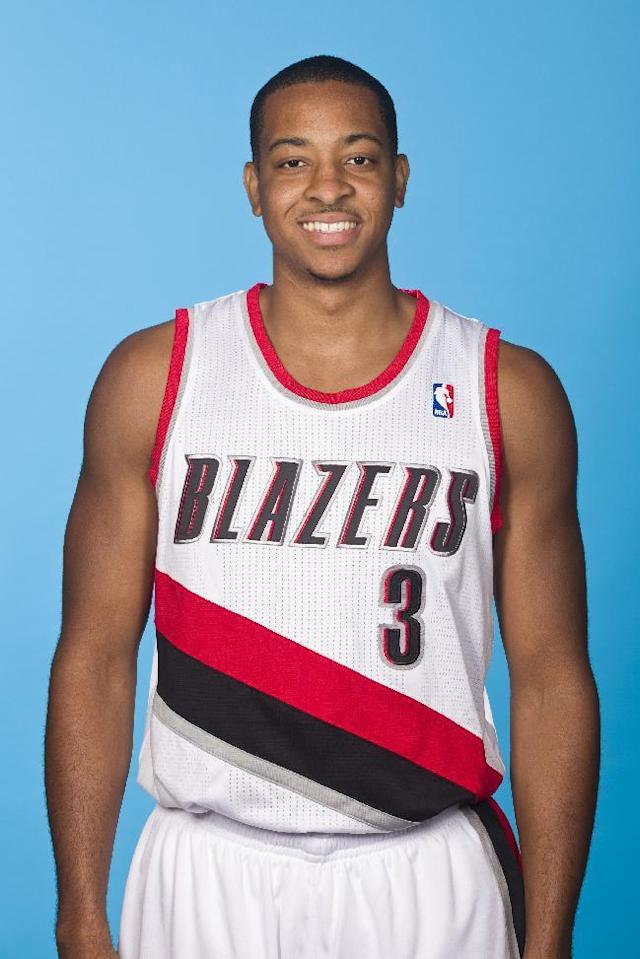 PORTLAND, OR - SEPTEMBER 30: C.J. McCollum #3 of the Portland Trail Blazers poses for a picture during media day on September 30, 2013 at the Rose Garden Arena in Portland, Oregon. (Photo by Cameron Browne/NBAE via Getty Images)