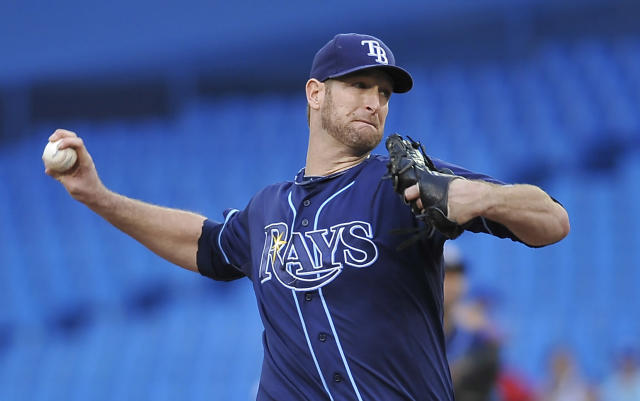TORONTO, CANADA - MAY 14: Jeff Niemann #34 of the Tampa Bay Rays delivers a pitch during MLB game action against the Toronto Blue Jays May 14, 2012 at Rogers Centre in Toronto, Ontario, Canada. (Photo by Brad White/Getty Images)