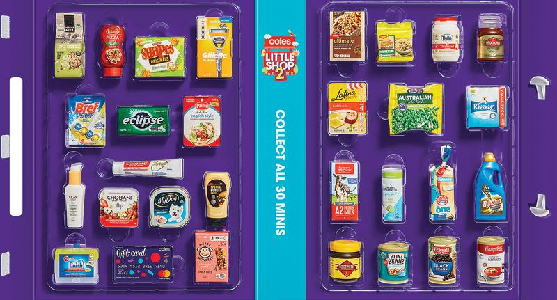 Photo shows new Coles collector's case displaying all 30 of the new mini items.