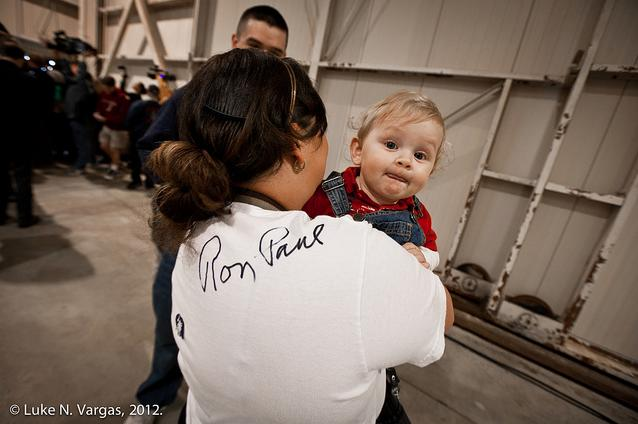 A small Ron Paul supporter in Charleston, South Carolina.