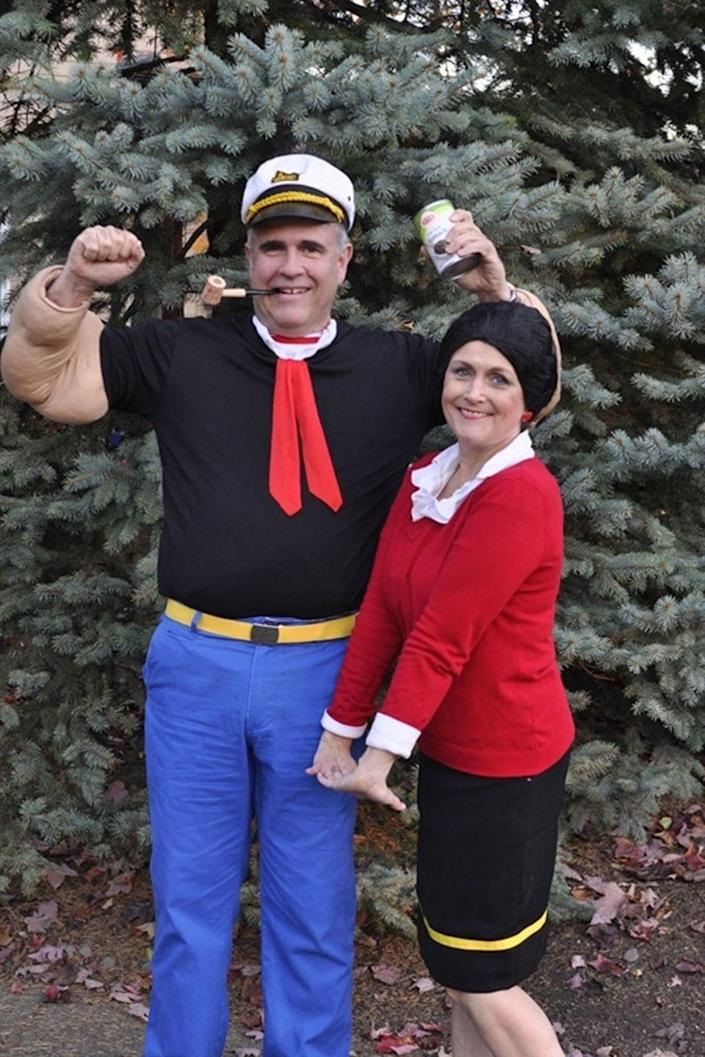 """<p>Don't worry: You needn't trade candy for spinach to pull off this iconic animated couple.</p><p><strong>Get the tutorial at <a href=""""http://www.yourhomebasedmom.com/popeye-olive-oyl/"""" rel=""""nofollow noopener"""" target=""""_blank"""" data-ylk=""""slk:Your Homebased Mom"""" class=""""link rapid-noclick-resp"""">Your Homebased Mom</a>.</strong></p><p><strong><a class=""""link rapid-noclick-resp"""" href=""""https://www.amazon.com/City-Costume-Olive-Women-Black/dp/B015SDIHXU?tag=syn-yahoo-20&ascsubtag=%5Bartid%7C10050.g.4616%5Bsrc%7Cyahoo-us"""" rel=""""nofollow noopener"""" target=""""_blank"""" data-ylk=""""slk:SHOP OLIVE OYL WIGS"""">SHOP OLIVE OYL WIGS</a></strong></p>"""