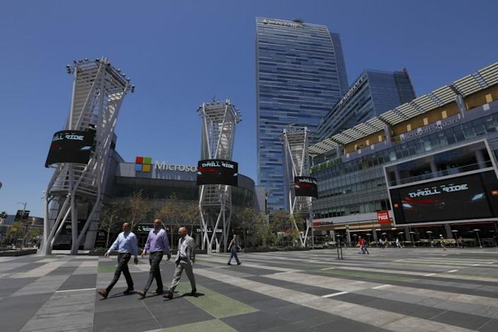 "Two hotels at L.A. Live, the downtown entertainment complex, did not take part in Project Roomkey. A report looked at why some hotels did not participate. <span class=""copyright"">(Francine Orr / Los Angeles Times)</span>"