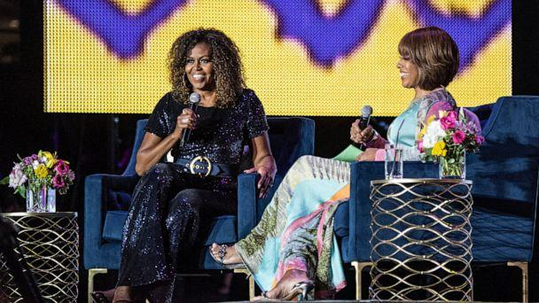 PHOTO: Michelle Obama and Gayle King participate in the 2019 Essence Festival at the Mercedes-Benz Superdome, Saturday, July 6, 2019, in New Orleans. (Amy Harris/Invision/AP)