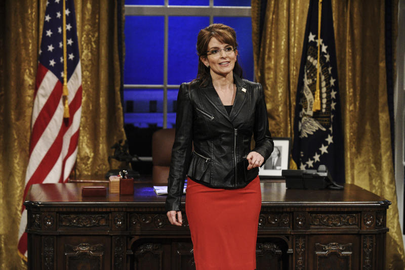 "Tina Fey as Sarah Palin on a 2018 episode of ""Saturday Night Live.""  (NBC via Getty Images)"