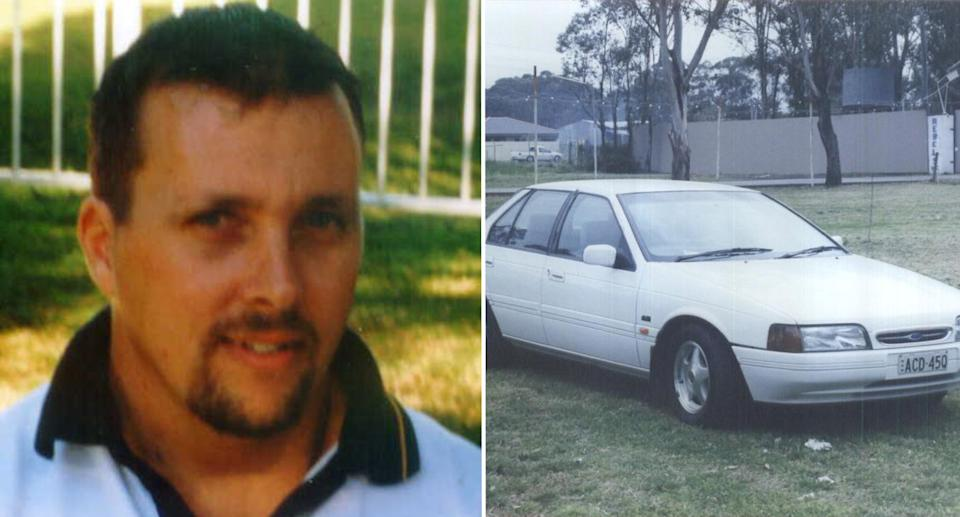 Ian Charles Draper, 37, and his 1992 white Ford Falcon.