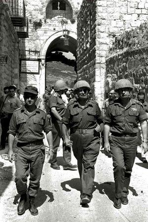 "Retired General Uzi Narkiss (L) is seen in this file photo, taken in June 1967 at the end of the ""Six Day War"", entering Jerusalem's Old City via the Lion's Gate with then Defense Minister Moshe Dayan (C) and then Chief of Staff Yitzhak Rabin (R).      REUTERS/GPO/Ilan Bruner/Handout via Reuters"