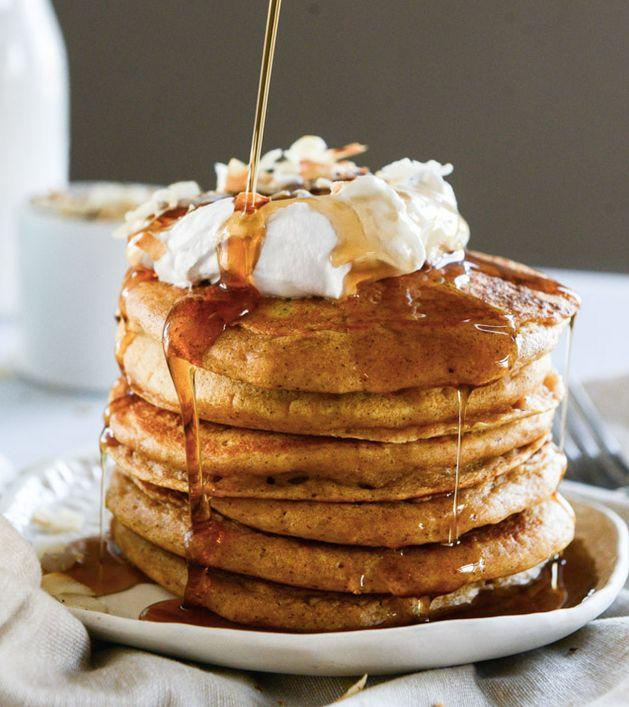 """<strong>Get the <a href=""""http://www.howsweeteats.com/2014/11/buttermilk-sweet-potato-pancakes-with-coconut-whipped-cream/"""" target=""""_blank"""">Buttermilk Sweet Potato Pancakes with Coconut Whipped Cream recipe</a> from How Sweet It Is</strong>"""