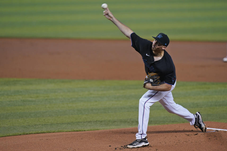 Miami Marlins' Zach Thompson delivers a pitch during the first inning of a baseball game against the Atlanta Braves, Saturday, June 12, 2021, in Miami. (AP Photo/Wilfredo Lee)