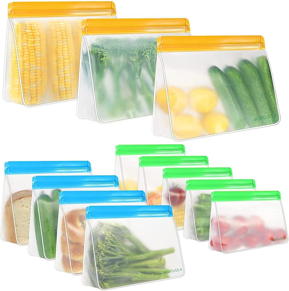 <p>These leak-proof durable <span>Morojular Reusable Food Storage Bags</span> ($17 for 12) are perfect for keeping leftovers fresh, meal prepping, and more. It comes with three gallon bags, five sandwich bags, and four snack bags.</p>