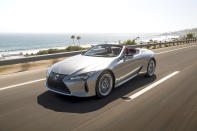 This photo provided by Lexus shows the Lexus LC 500 convertible, a two-seat drop-top with tons of personality. Highlights include a thunderous V8 and expressive styling. (James Lipman/Courtesy of Lexus USA via AP)
