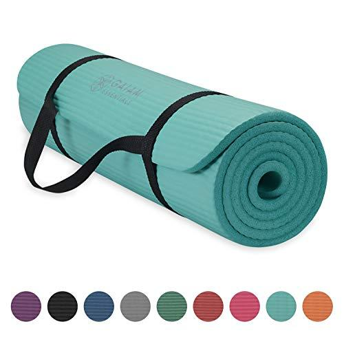 """Gaiam Essentials Thick Yoga Mat Fitness & Exercise Mat With Easy-Cinch Yoga Mat Carrier Strap, Teal, 72""""L X 24""""W X 2/5 Inch Thick (Amazon / Amazon)"""