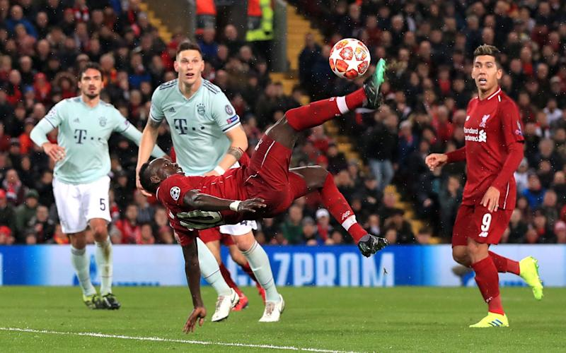 Liverpool's Sadio Mane attempts an overhead kick during the UEFA Champions League round of 16 first leg match at Anfield, Liverpool - PA
