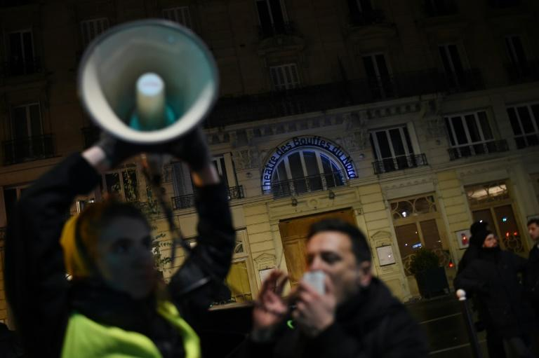 Protesters were demonstrating outside the theatre against Macron's reforms