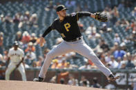 Pittsburgh Pirates starting pitcher Joe Musgrove works in the first inning of a baseball game against the San Francisco Giants, Thursday, Sept. 12, 2019, in San Francisco. (AP Photo/Eric Risberg)