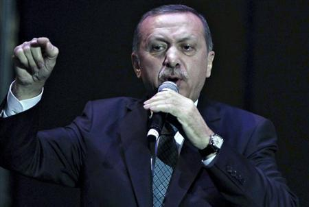 Turkey's Prime Minister Tayyip Erdogan addresses a meeting in Istanbul