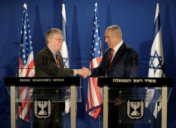 PHOTO: National Security Adviser John Bolton shake hands with Israeli Prime Minister Benjamin Netanyahu in Jerusalem, Jan. 6, 2019. (Oded Balilty/Pool/Reuters)