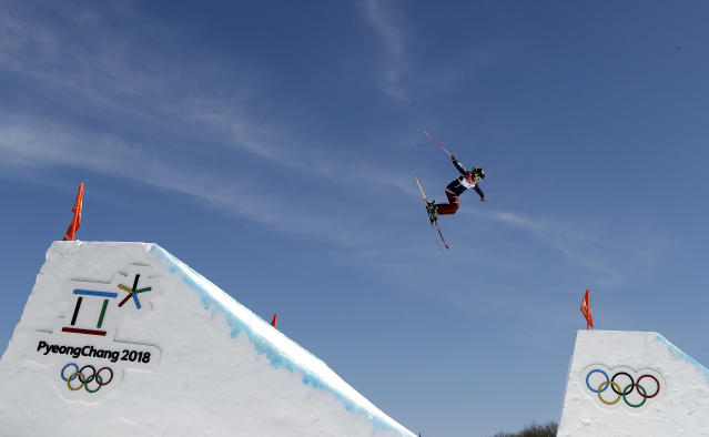 Maggie Voisin, of the United States, jumps during the women's slopestyle finals at Phoenix Snow Park at the 2018 Winter Olympics in Pyeongchang. (AP)