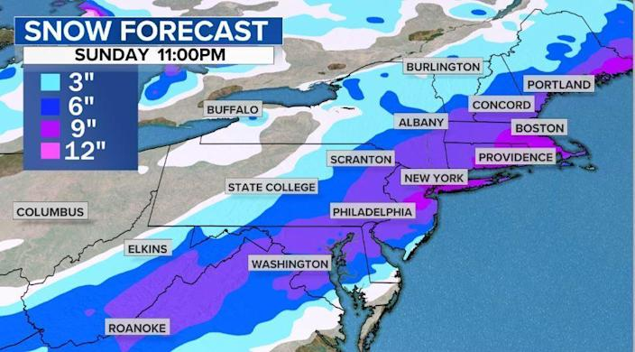 The snow forecast for Sunday evening. / Credit: CBS News