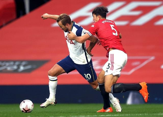 England captain Harry Kane helped Tottenham to a 6-1 win against Harry Maguire's Manchester United in their last match